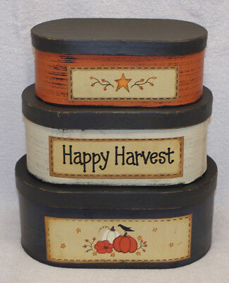 "Autumn Time! ""happy Harvest"" Nesting Boxes- Set Of 3, Thanksgiving Display, New!"