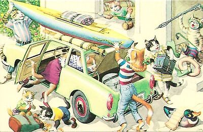 Loading the Car for Vacation Alfred Mainzer Dressed Cats Fantasy Postcard