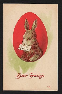 Easter Postcard rabbit with card in mouth,  red egg shape