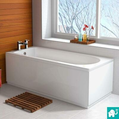 1700mm x 750mm Round Single End Modern Straight Bath White Bathroom Bathtub BB32