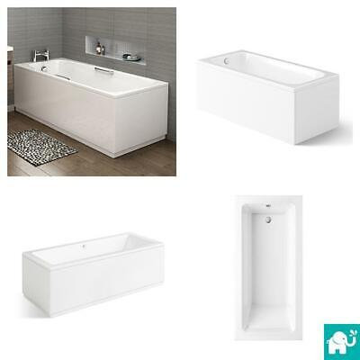 Modern Bathroom Single & Double Ended Straight Bath Gloss White Acrylic Bathtub