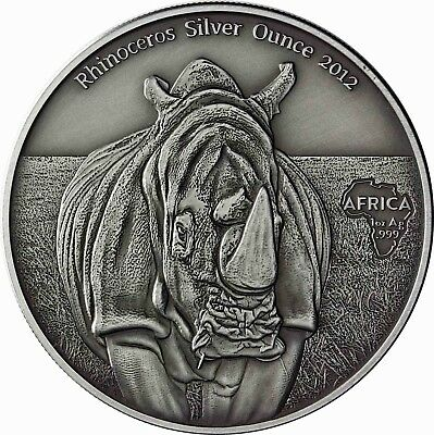 Kongo 1000 Francs 2012 Nashorn antique finish Rhinoceros Silver Ounce