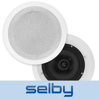 Pair of In-Ceiling Speakers 6.5-Inch 100W Poly Cones White