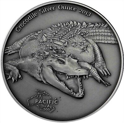 Tokelau 5 Dollars 2013 Crocodile Silver Ounce Antique Finish Krokodil Münze