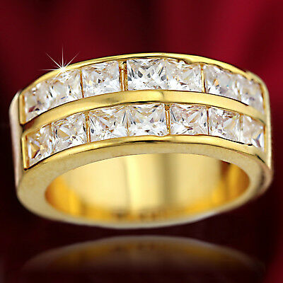 9K Gold Gf Square Simulated Diamond Solid Mens Womens Classic Band Wedding Ring
