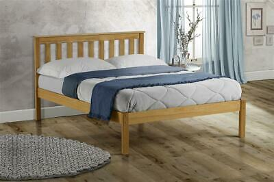 Shaker Style Solid Pine Wood Bed Double 4ft6 Slatted Head + Mattress Options