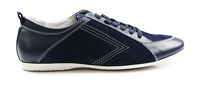 Mens Navy Zasel Leather Suede Casual Sneakers Work Dress Casual Driving Shoes