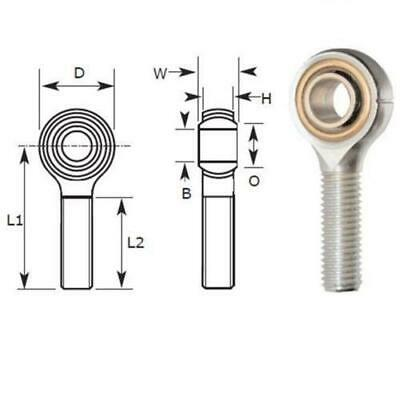 5mm Male Rod End Bearing, Right Hand Thread M5X0.80 Rose Joint, Bronze Liner
