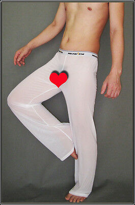 Pantalon sheer taille L blanc totale transparence sexy neofan Ref M02 gay inte