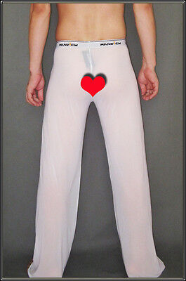 Pantalon sheer taille XL blanc totale transparence sexy neofan Ref M02 gay inte