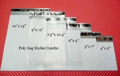 66 Poly Bag Shipping Envelope Variety ~ 11 ea of 6 Sizes ~ Self-Sealing Mailers