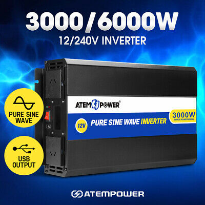 Pure Sine Wave 3000W Max 6000W 12V-230V Watt Power Inverter Car Caravan Camping