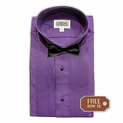 Mens Purple Pleated Tuxedo Shirt, Formal Wing Collar- FREE BOW TIE- NEW