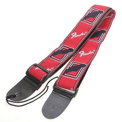 Adjustable Nylon Strap Leather Ends for Electric Acoustic Guitar Bass Red