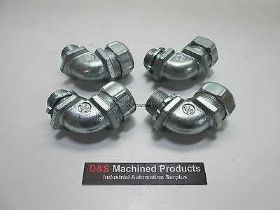 Lot of 4 T&B Fittings 5252 1/2in 90 Degree Conduit Connector