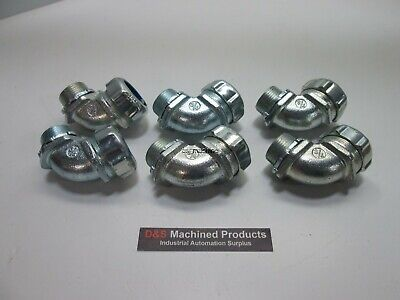 """Lot of 6 P&B Fittings 5253 3/4"""" 90 Degree Conduit Connector"""