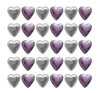 100 Cadbury Chocolate Lilac And Silver Hearts-Wedding Mother's Day Gifts Parties