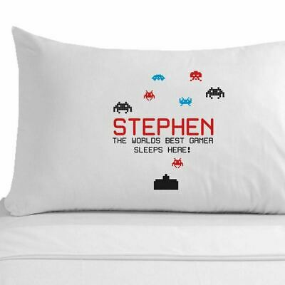 Personalised Best gamer top gamer gift space invaders themed pillowcase