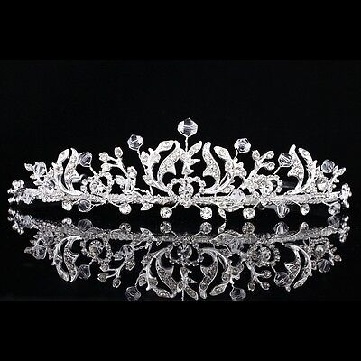 Handmade Bridal Floral Heart Rhinestone Crystal Prom Wedding Crown Tiara 8879