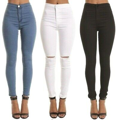 WOMENs LADIES HIGH WAISTED SKINNY Slim JEANS JEGGINGS Stretch Long Pants M 6-22