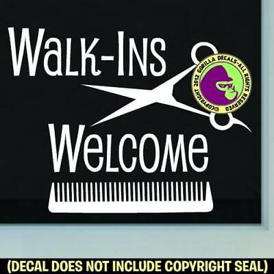 WALK-INS WELCOME COMB Decal Sticker Salon Spa Shop Hair Front Door Window Sign