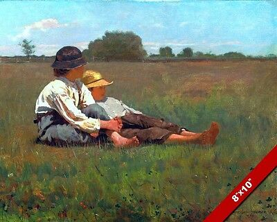 2 Boys In Field Winslow Homer Fine Art Painting Real Canvas Giclee 8X10Print