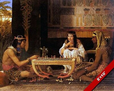 Egyptian Chess Players Game Fine Art Painting Real Canvas Giclee 8X10 Print