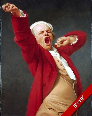 Funny Yawning Portrait Ducreux Fine Art Painting Real Canvas Giclee 8X10Print