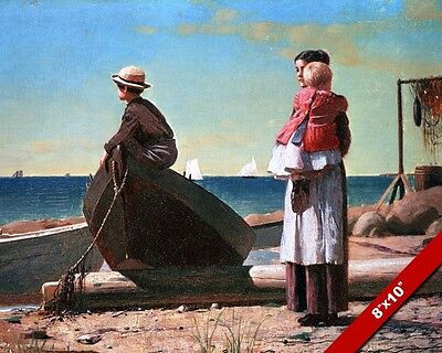 Dad'S Coming Home Kids Seascape Painting Fine Art Real Canvas Giclee 8X10 Print