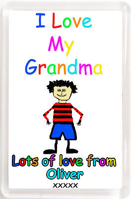 Fridge Magnet-I Love My Mum/Dad etc -You Choose & Personalise with boy's name