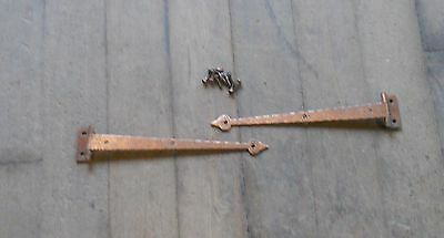 One Pair Mckinney Iron Forge Strap Olde Copper 8-3/4 with Screws