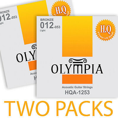 TWO PACKS / SETS Olympia Acoustic Guitar Strings 12-53w HQ Phosphor Bronze Light