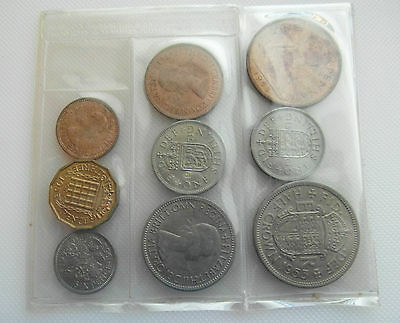 Nine Pre Decimal British 1953 Coronation Un-Circulated Coins In Sealed Pack