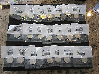 2004 Mixed P&D Jefferson Peace Nickel Uncirculated Sealed in Plastic 21 Total