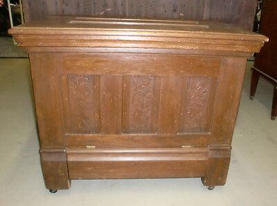 Antique Oak Ice Box Chest Quarter-Sawn Panel Sides Front Back Top