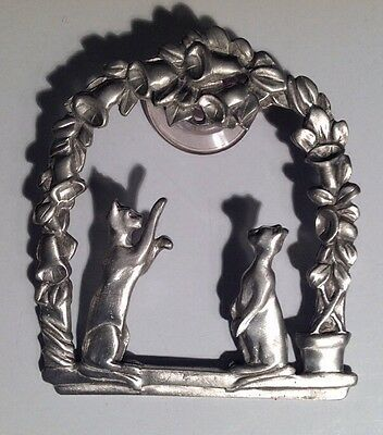 Pewter Cat window ornament with suction clip