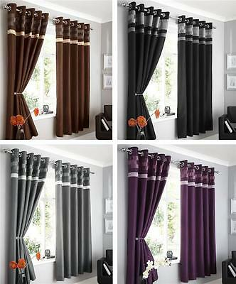 New Range Of Modern Faux Silk Eyelet Ring Top Lined Curtains
