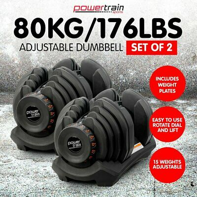 NEW 80kg ADJUSTABLE DUMBBELL SET HOME GYM EXERCISE EQUIPMENT WEIGHTS