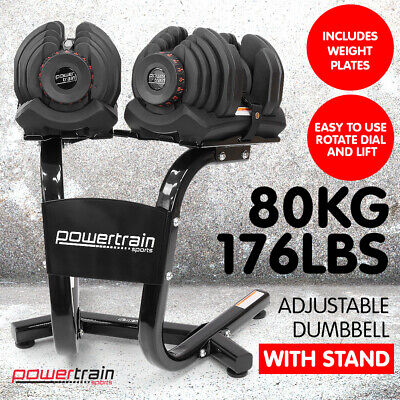 NEW 80kg ADJUSTABLE DUMBBELL SET w STAND HOME GYM EXERCISE EQUIPMENT WEIGHTS