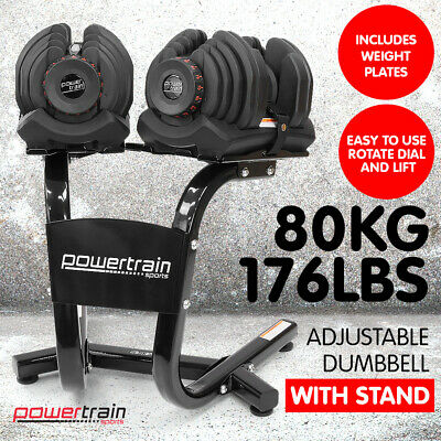 POWERTRAIN 80kg ADJUSTABLE DUMBBELL SET w STAND HOME GYM EXERCISE FREE WEIGHTS