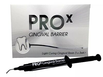 5 X LARGE 3ml Pro X Gingival Barrier Tubes x 10 Nibs For Whitening Treatments