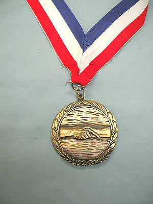 salesman hand shake gold medal heavyweight wide neck ribbon