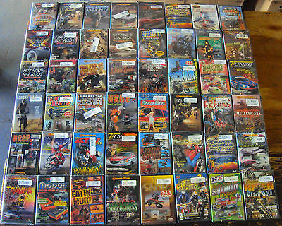 1000 DVDS; CARS MOTORCYCLES, RACING, CRASHES, MOTOCROSS, HOT RODS, WHOLESALE LOT