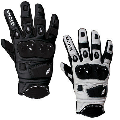 Richa Rock Leather Summer Carbon Vented Short Race Sports Motorcycle - Gloves