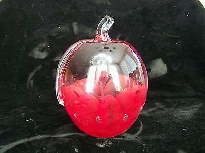 St Clair Paperweight Art Glass Red and Clear Apple with Blown Bubble Center Mkd
