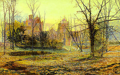Grimshaw John Atlkinson Evening Knostrop Old Hall artista quadro dipinto a olio