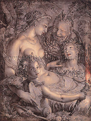 GOLTZIUS Hendrick Without Ceres Bacchus Venus Would Freeze dipinto quadro a olio