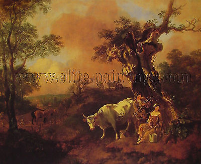 Thomas Gainsborough Landscape Woodcutter Milkmaid artista quadro dipinto a olio
