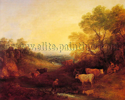 Thomas Gainsborough Landscape Cattle artista quadro dipinto olio su tela a mano