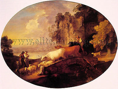 Thomas Gainsborough River Landscape Rustic Lovers artista quadro dipinto a olio